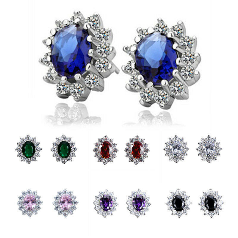 CAOSHI Beautiful Party Gifts Sun Flower Earrings Multi Colors Cubic Zirconia Colorful Oval Flowers Silver Stud Earrings Women