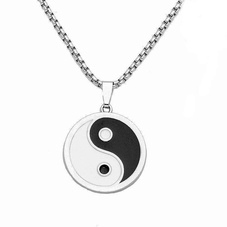 2020 high quality Best couple ideas enamel necklaces Enamel Jewelry Round Coin Pendant Good polished yin and yang