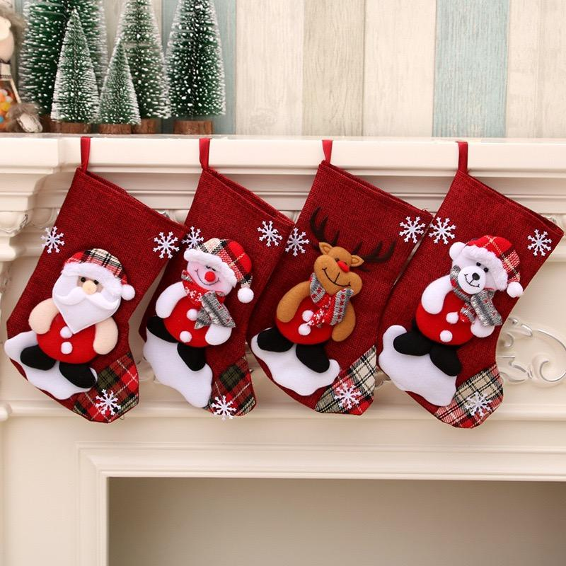 Christmas Stockings 4Pieces Set 9 inches Cute Santa Wapiti Snowman bear Fireplace Stockings Plush 3D Applique