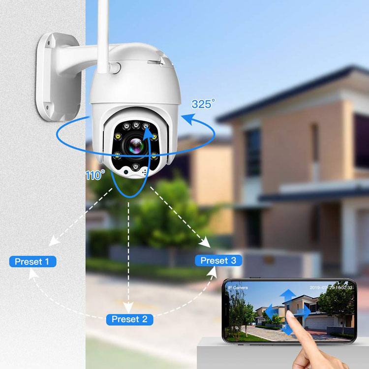 Full Color Whole Day PTZ IP Camera Wifi Wireless 4G Sim Card With 128GB SD Card 1080P