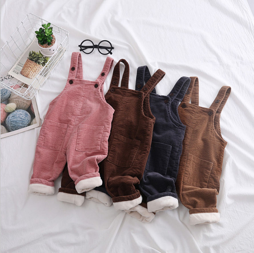 Baby Girl Rompers Clothes Ruffles Knitted Newborn Girls Jumpsuit Toddler corduroy pants Children Overall Winter