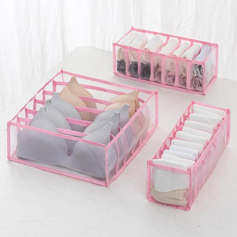 Household Nylon mesh Underwear Storage Box with Mark Closet Organizer with Cover for Underwear Socks Bra Organizer new