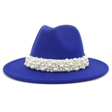 Solid Color Felt Fedora Wool Felt Hat with pearl For Women MNDJS237