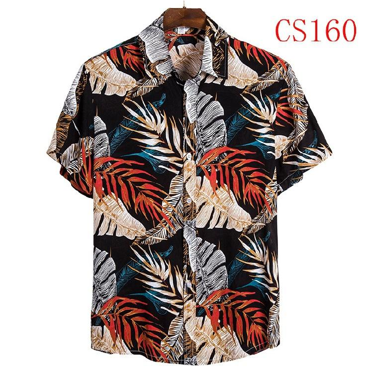 Special price for January new fashion flower Printed design Beach shirt short sleeve Hawaiian shirts for men