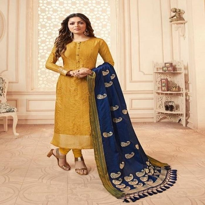 Trendy Pakistani Yellow Salwar Suit For Wedding And Other Occasion / Islamic Dresses Wholesaler