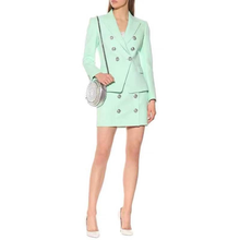 A3786 Green Women Skirt Suit OLO Long Sleeve Short  Skirt Two Piece Set  Wholesale