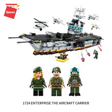 Qman Aircraft carrier building blocks The cruise ship model toys Navy figure toys compatible legoing