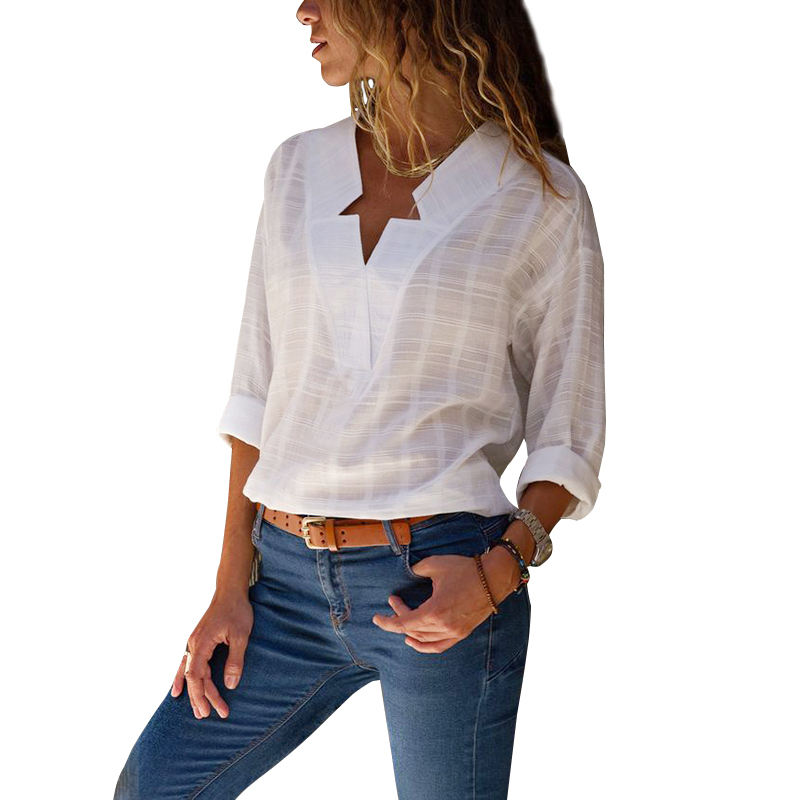 Wholesale 2020 New Design Female Blouse V-neck Long Sleeve Office Shirt Women Cotton Blouse