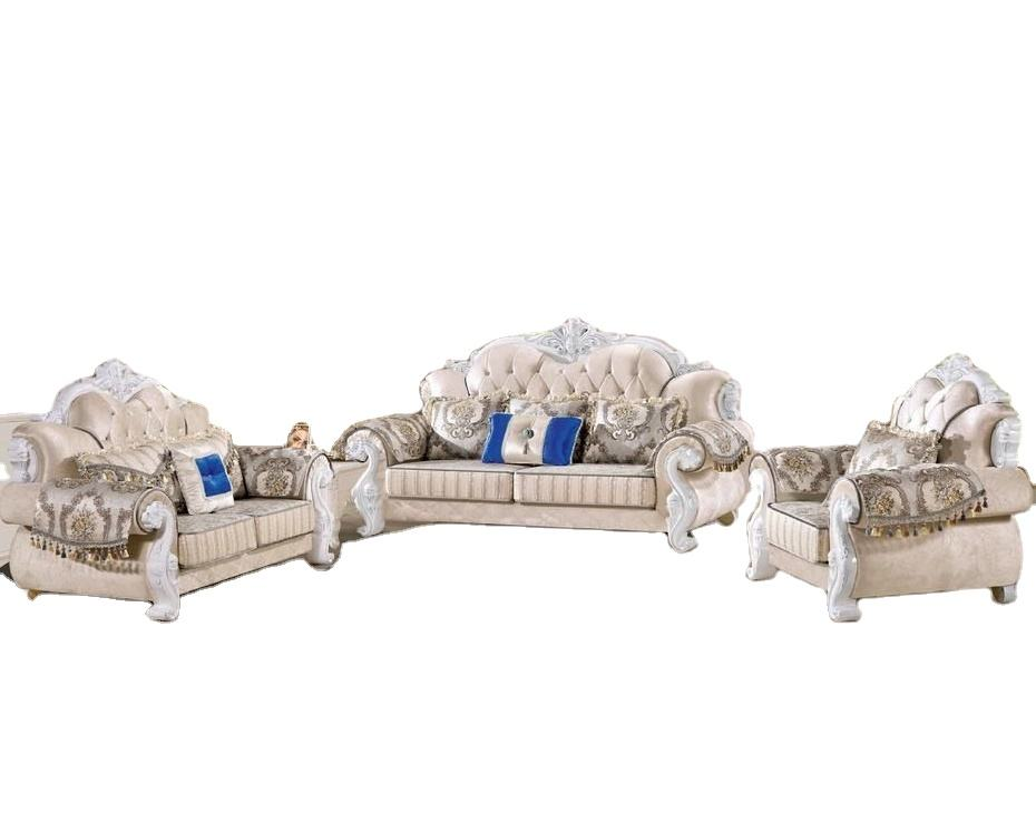 Royale Traditional Luxury Wood Trim Sofa Set Rococo Living Room Furniture