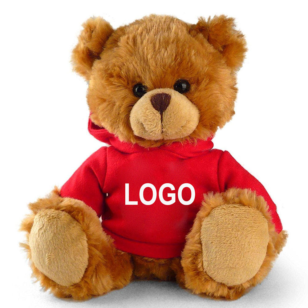 Company mascot LOW MOQ custom printed LOGO personalized stuffed soft toy plush brown teddy bear with hoodies