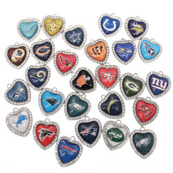 New Custom 32 designs rhinestone heart American  football pe