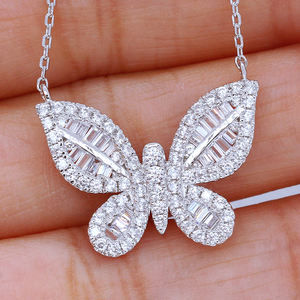 CAOSHI High Quality White Zircon Necklaces Pendant 925 Silver Plating Daily Accessories Butterfly Necklace for Girls Women