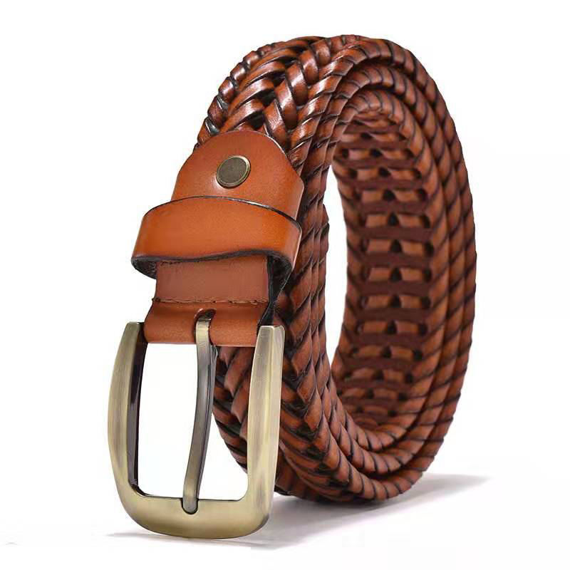 Factory Hot Sale Custom Luxury Black Brown Genuine Leather Braided Woven Man Knitted Belts