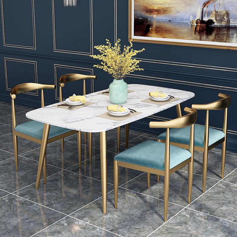 free sample cheap restaurant furniture dining room set modern stylish glass dining table and chair gold metal legs dining chair