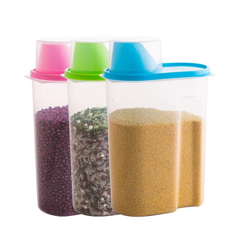cocina arroz de harina de grano de plástico contenedor de almacenamiento de alimentos con la taza de medición