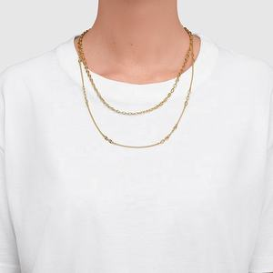 Latest jewelry trendy dainty gold link minimalist bean chain necklace