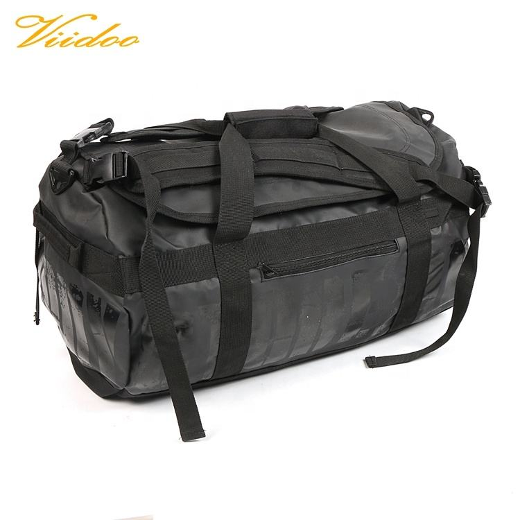 Black waterproof Tarpaulin convertible Duffel Bag,duffel bag backpack