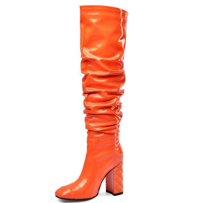 Big Size 45 Women OverKnee High Boots High Chunky Heels Boots Ladies Long Shiny Patent PU Orange Square toe Thigh High Boots