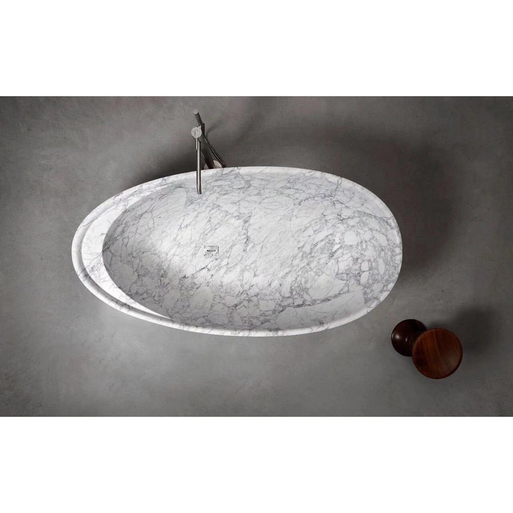 Freestanding Solid Round Natural Marble White Stone Bathtub