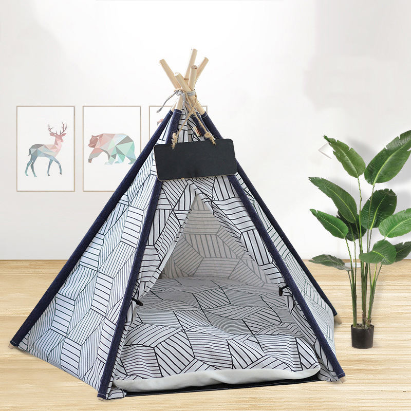 Diamond Shape Removable Washable And Foldable Cat Bed Easy To Install Canvas Pet Tent Cute Small Dog Kennel