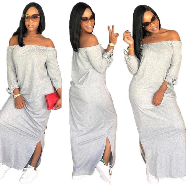 Wholesale Off Shoulder Solid Color Strapless Dresses Plus Size Women Clothing Casual Long Sleeve Cake Skirt Maxi Dress