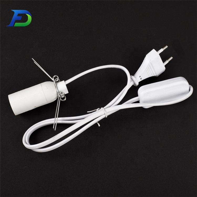 White Plastic Switch ON-OFF 3m Cable 2-Core Wire 2x0.75 Lamp Light Inline Black