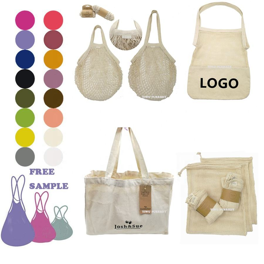 Sopurrrdy reusable foldable 100% cotton mesh net bag long handle shopping tote bag for foods