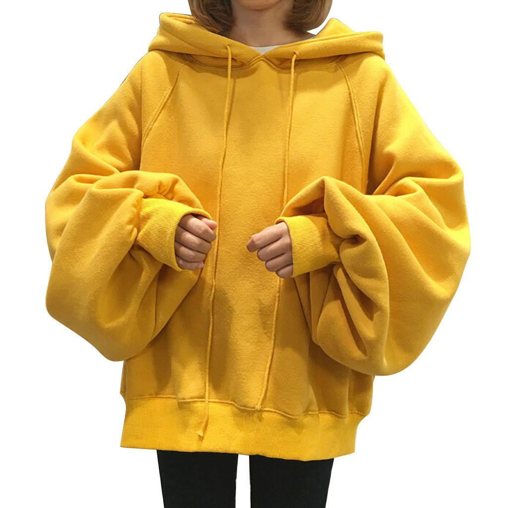 Wholesale Thickened Loose Hooded Fleece Sweatshirt Plus Size Yellow Red Black Custom Logo Women's Pullover Hoodies