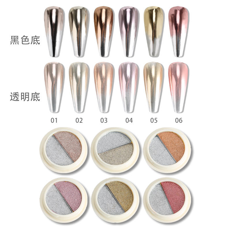 Feishi Two-Color Solid Luxury Gold Chrome Mirror Nail Powder