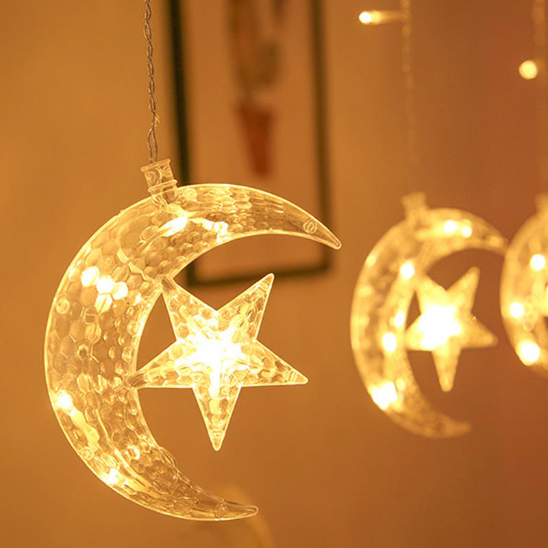 Low Price Hanging Kit Star Decorative Light Led Ramadan For Home Holiday Party LED Star Moon windows Curtain String Lights