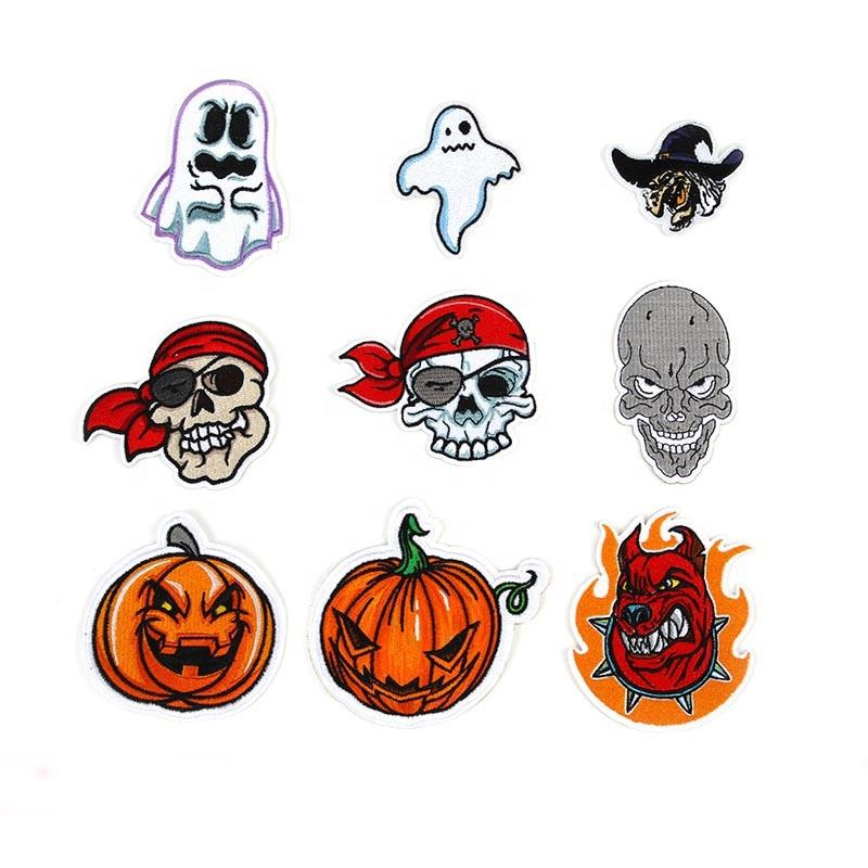 Custom Pirate Ghost Embroidered Patch Halloween Red Pumpkin DIY Applique Embroidered Iron On Patch