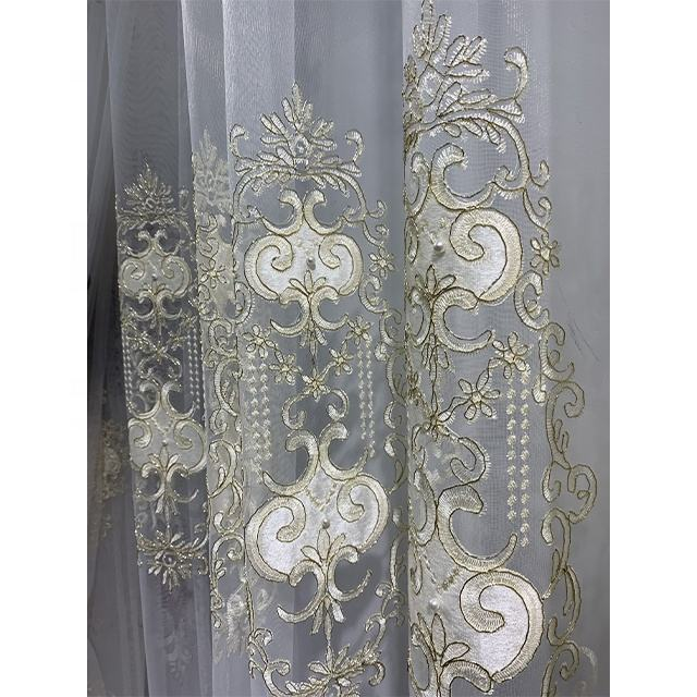 wholesale fancy Embroidered sheer curtain fabric for home decor curtains