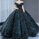 W1003 women off shoulder sequins bling ball gowns off shoulders v neck wedding dress stage dress