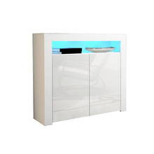 Furniture Designs Ltd Modern White Matt Gloss high glossy UV  Buffet Sideboards Display Cabinets with LED Lights White