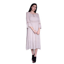 Italy Factory New Style Ladies 100% Cotton Puff Sleeves Stretch Waist Long Casual Dress Chiffon