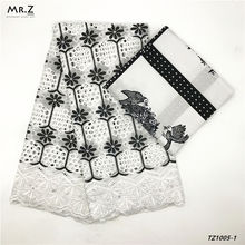 Mr.Z African Fashion Style Cotton Prints Wax Fabrics With Swiss Voile Lace Fabric 3+2.5 Yards/Set