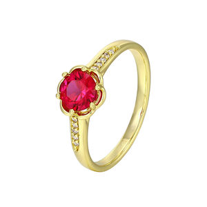 11592 Xuping 14k gold natural ruby gemstone insert designed copper ring for women