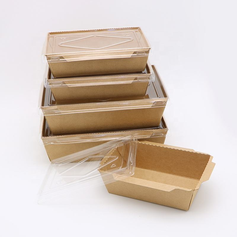 Biodegradable kraft food container water proof paper tray with plastic lid
