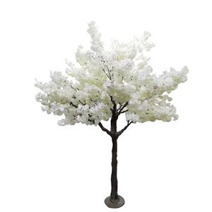 Wedding decor cheap silk indoor white cherry blossom tree artificial flowers trees for decoration