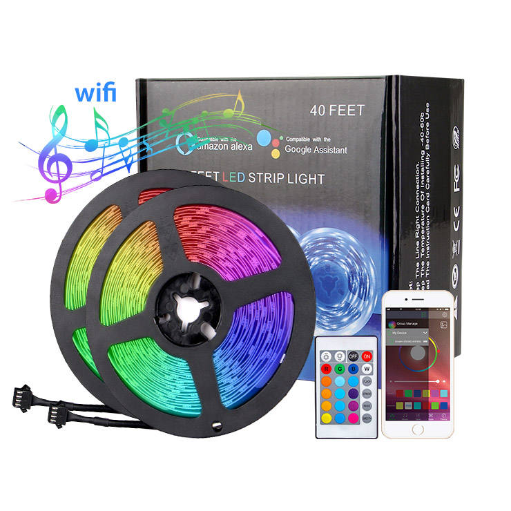 Wifi Control RGB SMD 5050 Colorful Decoration IP20 12V Smart LED Light Strip with Remote Controller