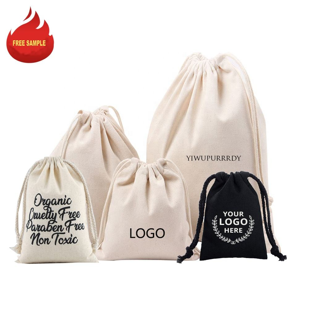 Sopurrrdy wholesale high quality custom logo printed small beige organic canvas cotton muslin jewellery drawstring pouch bag