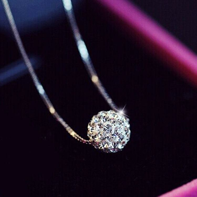 925 Sterling Silver diamond Ball Pendant necklaces for women Crystal Diamond Choker Necklace Jewelry