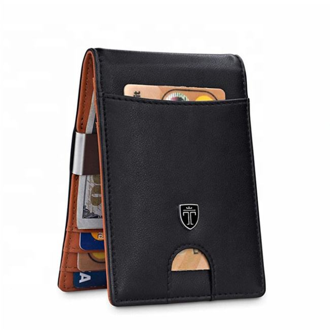 Mens Wallets Slim Front Pocket RFID Blocking Leather Money Clip Wallet