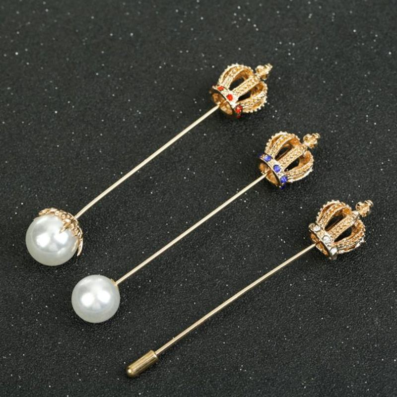 new arrival pearl crown shape alloy long needle business party brooch lapel pins for women