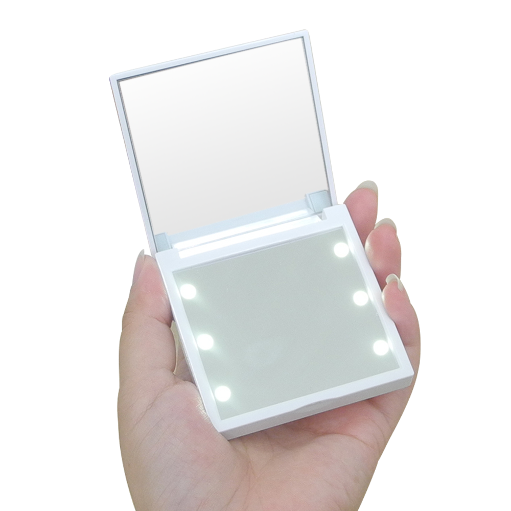 6pcs LED 2x Magnifying 7*7*1.2cms Mini sublimation handheld make-up plastic cosmetics pocket led mirror make up mirror small