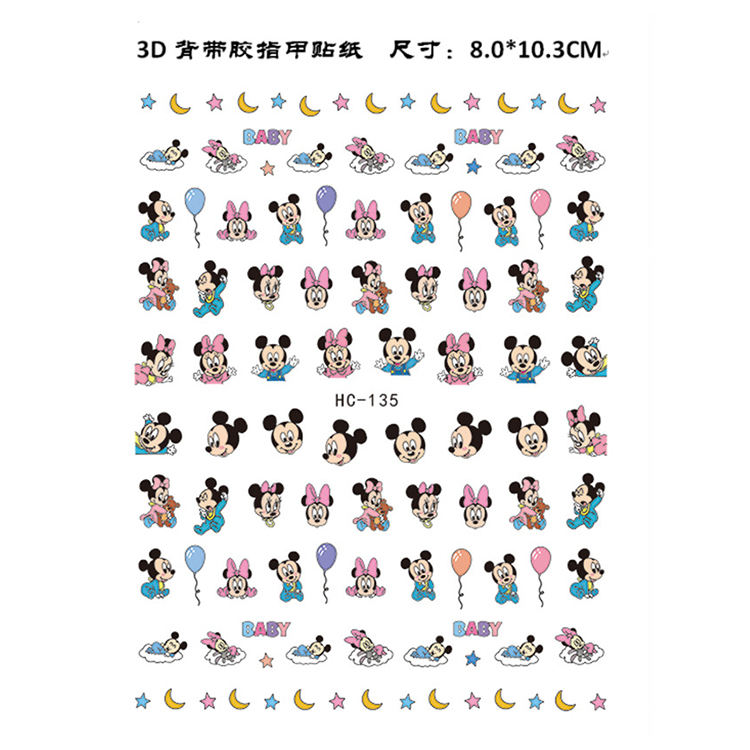 HC131-140 Popular Nail Sticker 3D Mickey Mouse / Little Pig Design DIY Nail Art Sticker with Self Adhesive