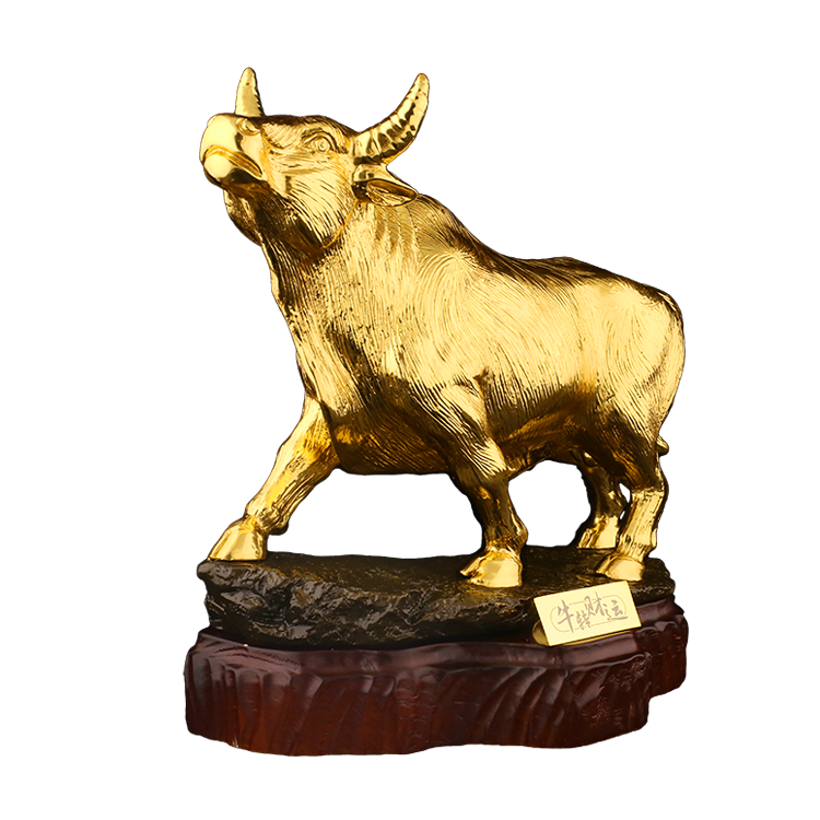 24K gold leaf buffalo business gift Souvenir craft Valentines Day gift gold Wall Street Bull