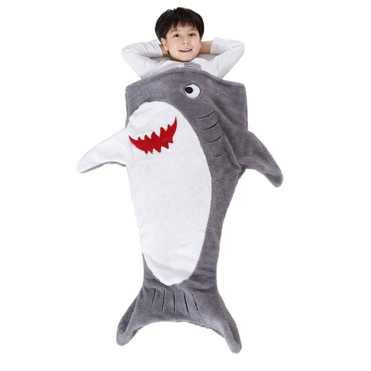 Creative soft plush kids surprise bag smile shark sleeping bag for kids Gift