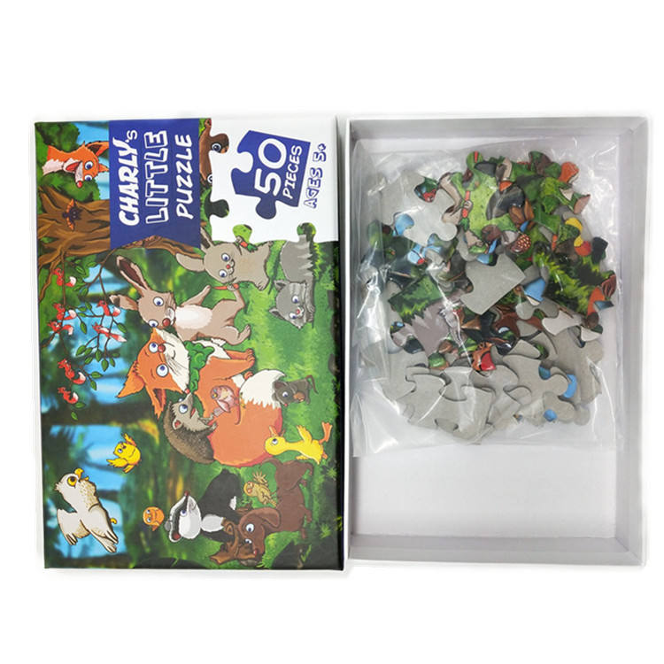 Free Sample Factory Custom 50 Pieces 100 Pieces Kids Educational Cardboard Puzzle Game For Children