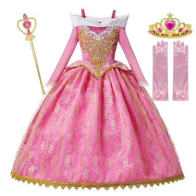 Girls Deluxe Aurora Princess Costume Long Sleeve Sleeping Beauty Pageant Party Gown Children Fancy Dress Up